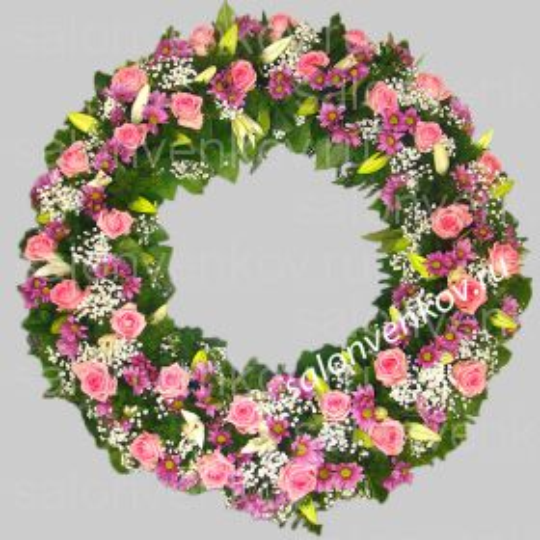 Элитный траурный венок из живых цветов №55, РАЗМЕР 60см